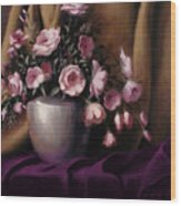 Lavander And Pink Flowers In Silver Vase Wood Print