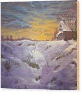 Lavendar Snow Wood Print