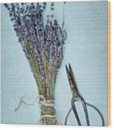 Lavender And Antique Scissors Wood Print