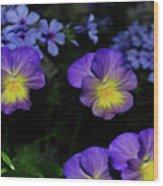 Lavender And Yellow Pansies Wood Print