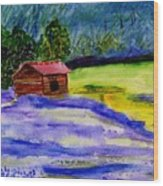 Lavender Barn Wood Print
