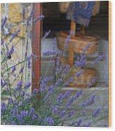 Lavender Blooming Near Stairway Wood Print