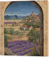 Lavender Fields And Village Of Provence Wood Print