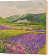 Lavender Fields Landscape Wood Print