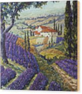Lavender Fields Tuscan By Prankearts Fine Arts Wood Print