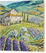 Lavender Hills Tuscany By Prankearts Fine Arts Wood Print