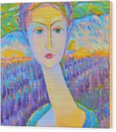 Lavender Lady Art Deco, Decorative Woman Painting, Woman Figure Print For Sale. Pretty Girl Canvas  Wood Print