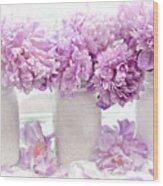 Lavender Peonies White Mason Jars - Romantic Shabby Chic Lavender Purple Peonies Mason Jars Wood Print