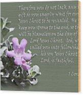 Lavender Sage Blossom I Cor. 1 V 7-9 Wood Print