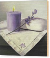Lavender Sprig Wood Print by Linda Jacobus
