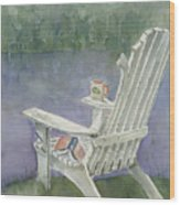 Lawn Chair By The Lake Wood Print