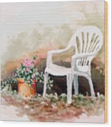 Lawn Chair With Flowers Wood Print
