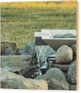 Lawn Water Feature Wood Print