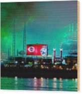 Laser Green Smoke And Reds Stadium Wood Print