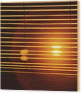 Lazy Summer Afternoon With Sunset View Through The Wooden Window Shades Wood Print