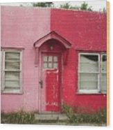 Lazy U Motel - Pink And Red Wood Print
