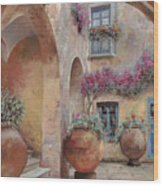 Le Arcate In Cortile Wood Print by Guido Borelli