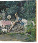 Le Heron Familier Wood Print