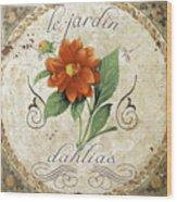 Le Jardin Dahlias Wood Print