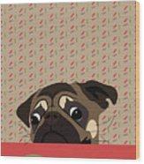 Le Pug Et Le Macaron Wood Print