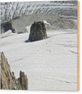 Le Rognon Glacier D'argentiere Vue Depuis L'aiguille Des Grands Montets Argentiere Haute Savoie Wood Print