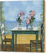 Le Rose E Il Balcone Wood Print by Guido Borelli