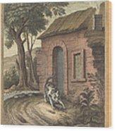 Le Vieux Chat Et La Jeune Souris (the Old Catand The Young Mouse) Wood Print