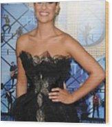 Lea Michele Wearing A Marchesa Dress Wood Print by Everett