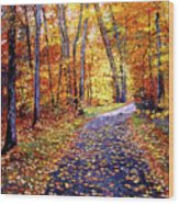 Leaf Covered Road Wood Print by David Lloyd Glover