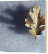Leaf On Snow Wood Print