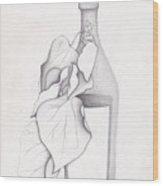 Leafy Bottle Wood Print