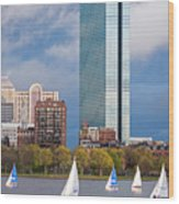 Lean Into It- Sailboats By The Hancock On The Charles River Boston Ma Wood Print
