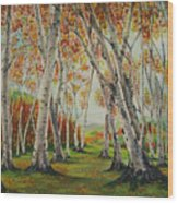 Leaning Birches Wood Print by Charles Hetenyi