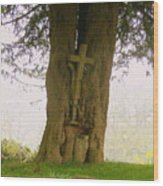 Leaning On The Cross Of Jesus Wood Print