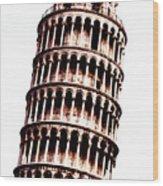 Leaning Tower Of Pisa  Sepia Digital Art Wood Print