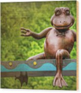 Leaping Frog In Boston  Wood Print