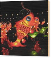 Leaping Goldfish Wood Print