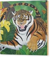 Leaping Tiger Wood Print
