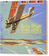 Learn To Fly Vintage Poster Restored Wood Print