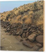 Learn To Swim, Creek Bed Quickly Filling With Water During Autumn Rainstorms In The High Desert Wood Print
