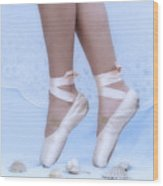 Learning To Walk In Dance World With Pink Pointe Shoes Wood Print