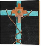 Leather And Stone Cross Wood Print