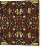 Leather In Floral Harmony And Peace Wood Print