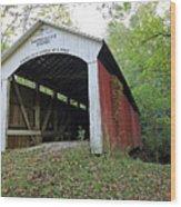 Leatherwood Station Covered Bridge Indiana Wood Print