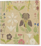 Leaves And Flowers From Nature Wood Print