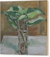 Leaves In A Tall Glass Wood Print