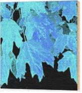 Leaves In Blue Wood Print