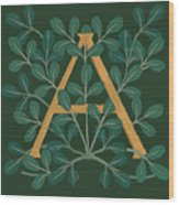 Leaves Letter A Wood Print
