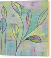 Leaves On Abstract Background Wood Print