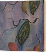 Leaves On Silk Wood Print